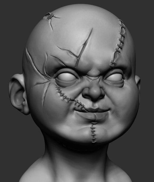 3D chucky head zbrush model