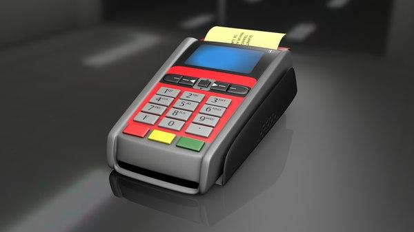Santander Credit Card Machine Zahlungsterminal Animiert 10D-Modell