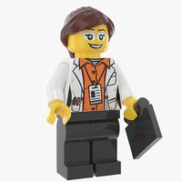 3D lego woman cientist
