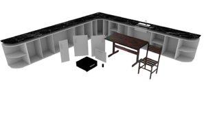 3D interior table kitchen