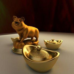 3D chinese golden pig gold ingot