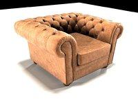 3D chesterfield armchair model