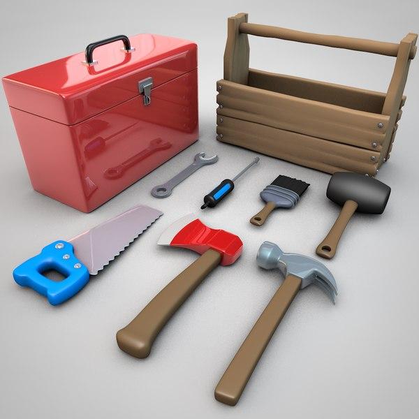 3D cartoon tool boxes toolbox model