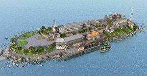 alcatraz island penitentiary prison 3D