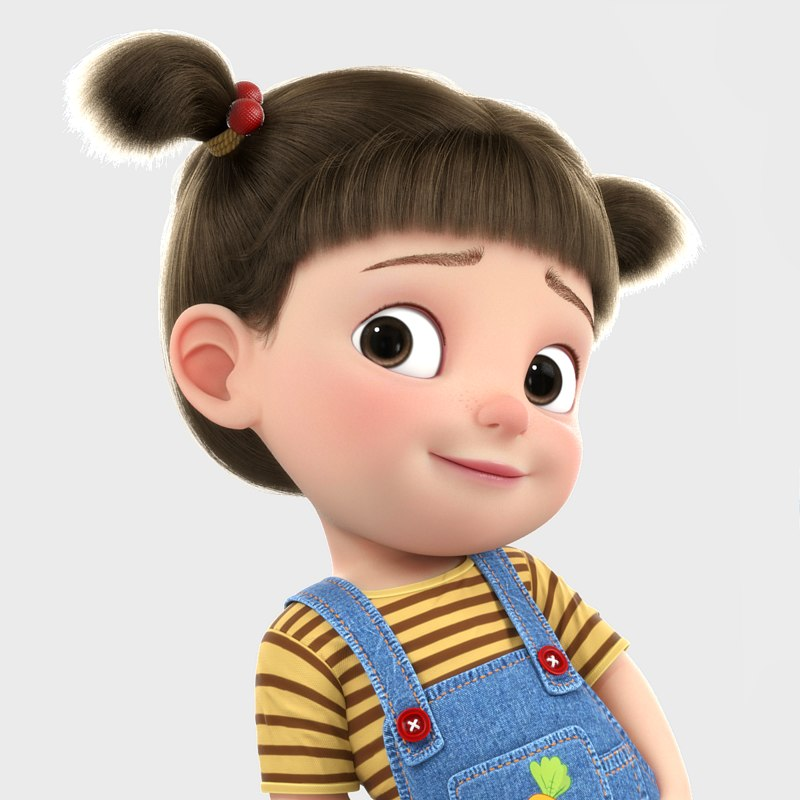3D model cartoon girl rigged character