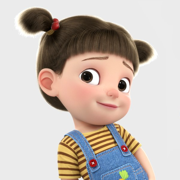 3D model cartoon girl rigged character