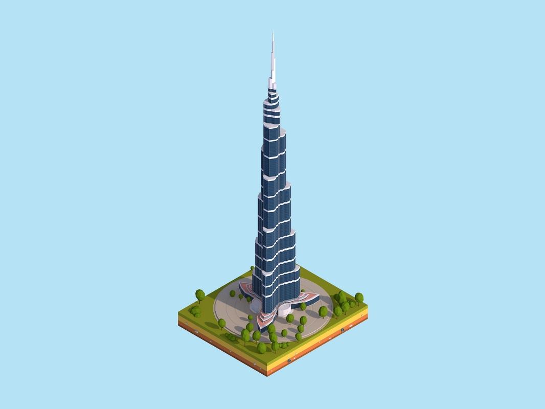 3D cartoon burj khalifa dubai model