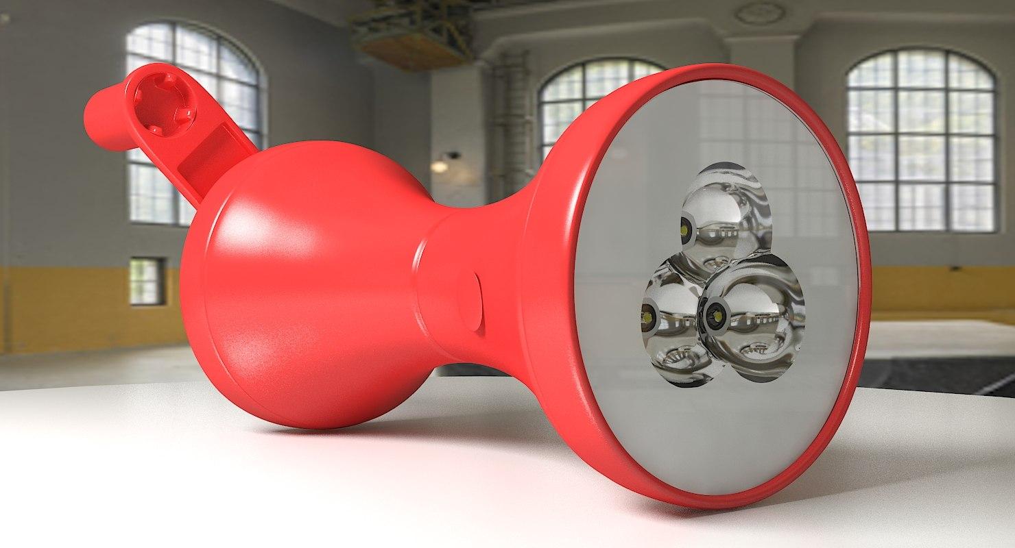 3D model flashlight hand dynamo
