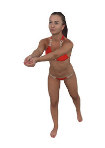 3D scanned fitness woman swimming model