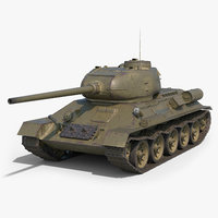 soviet tank t-34-85 green 3D model