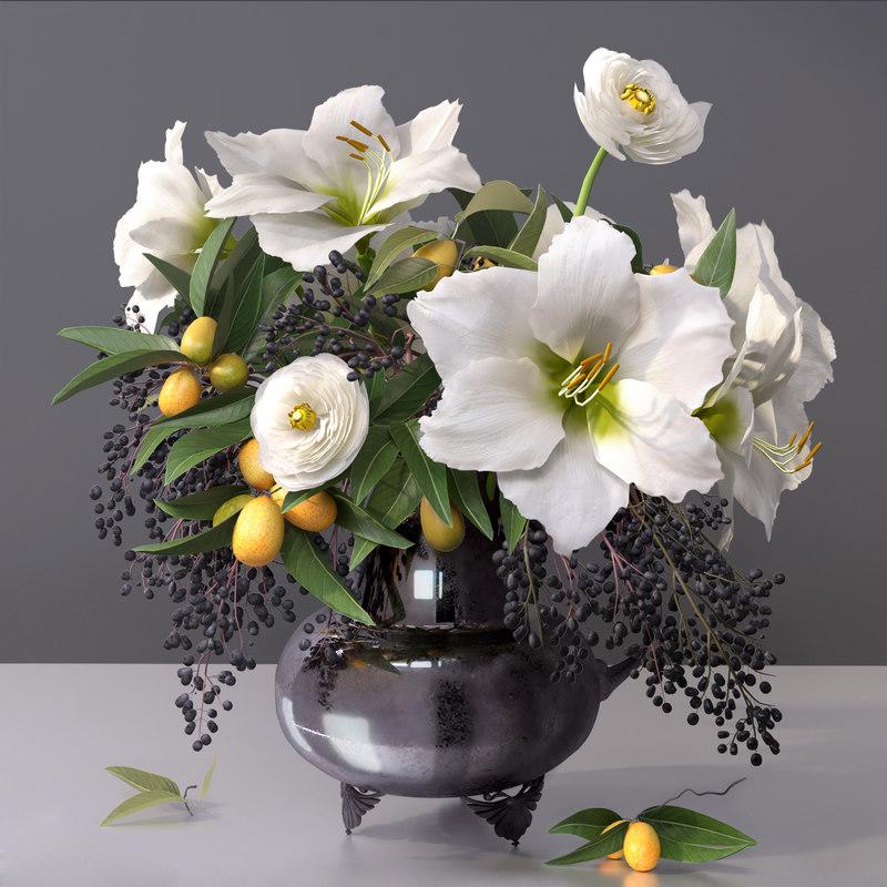 bouquet flower vase fruit 3D model