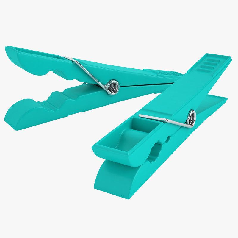 3D plastic clothespin clothes model