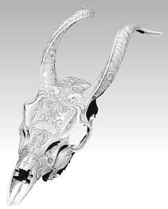 3D antelope carving skull