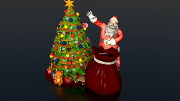 santa claus xmas tree 3D