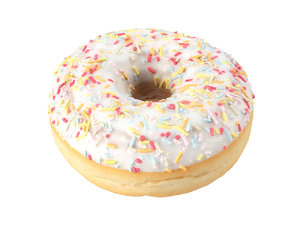 photorealistic scanned sprinkled donut 3D
