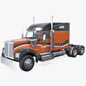 w990 transport truck rigged 3D model