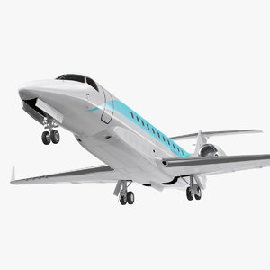 3D private jet generic rigged model