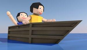 3D origami cartoon boat