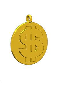 3D dollar necklace