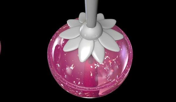 flowers lollipoop lipstick 3D