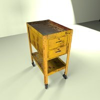 3D model wheeled tool cabinet