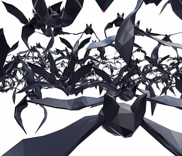bat poses flying 11 3D model