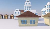 origami houses paper 3D model
