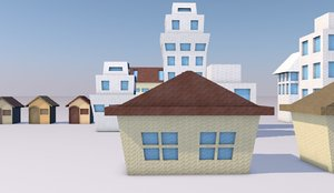 origami houses paper 3D model