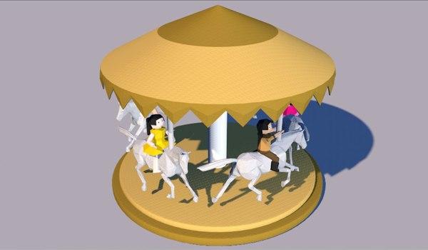 origami horse spinner 3D model