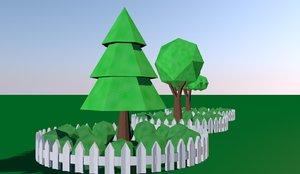 origami trees 3D model