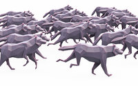 Wolf Run Poses Low Poly