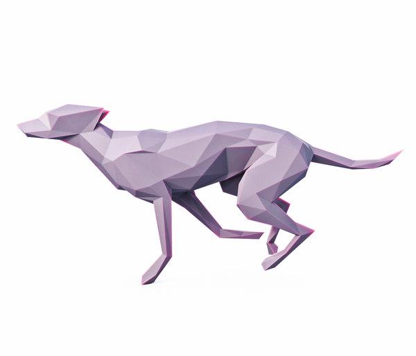 dog run pose 3D model