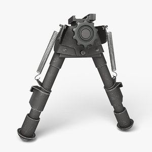 sniper rifle bipod black 3D model