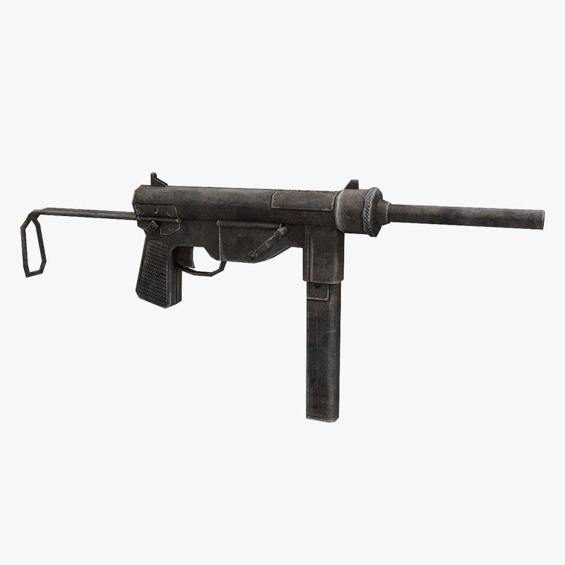 3D m3a1 gun model