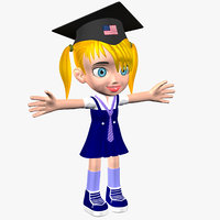 cartoon girl student model