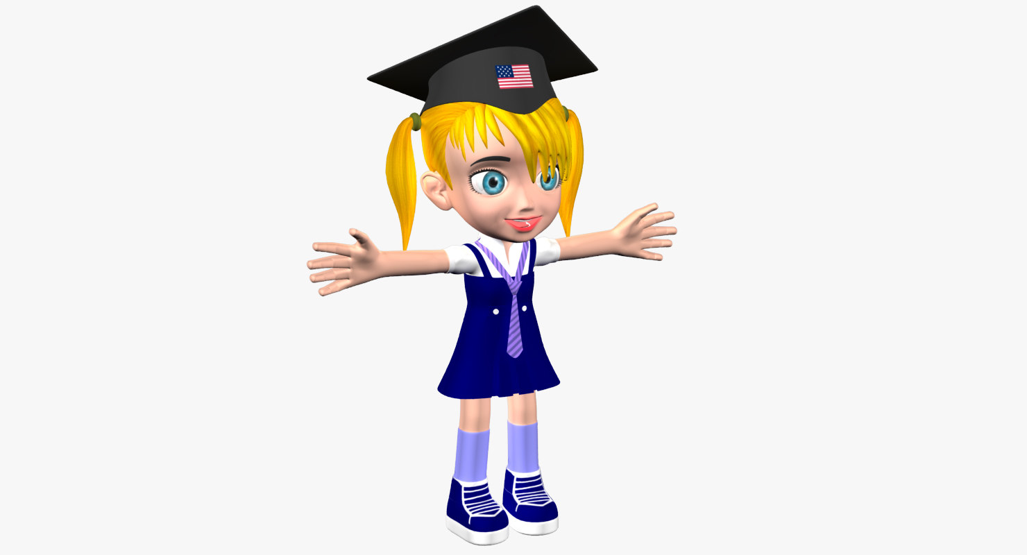 cartoon girl student model
