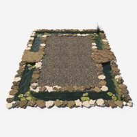 3D garden pond decorated stones