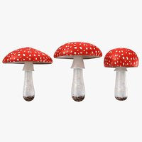 mushrooms amanita set 3D model