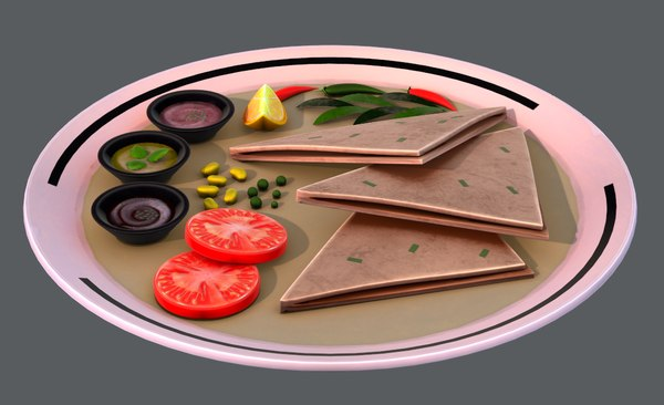 3D naan bread 01 food model