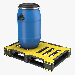 3D barrel plastic pallet