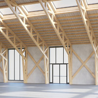 3D wood truss warehouse loft