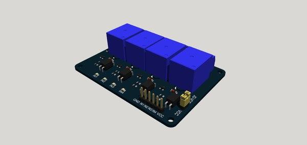 4 relays board 3D model