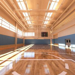 photorealistic basketball court 3D model