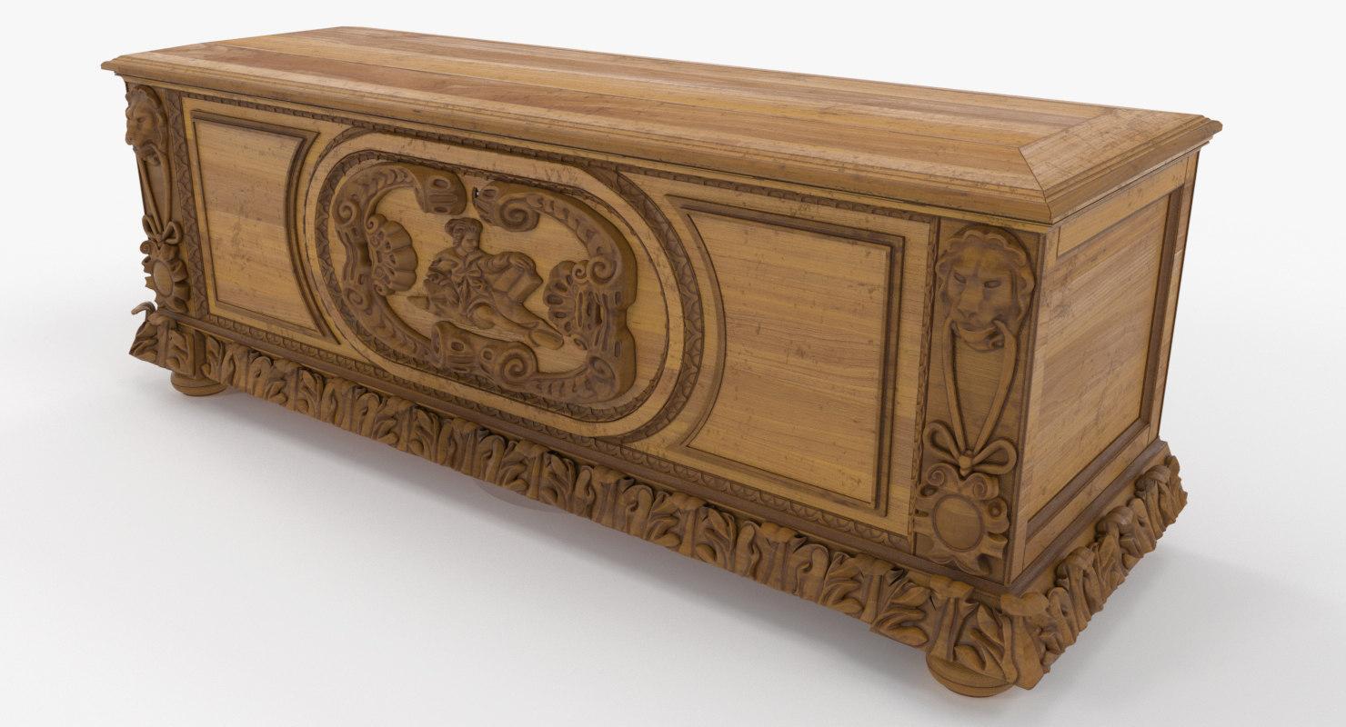 antique chest renaissance 3D