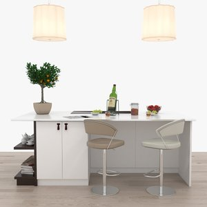 bar stools kitchen island 3D model