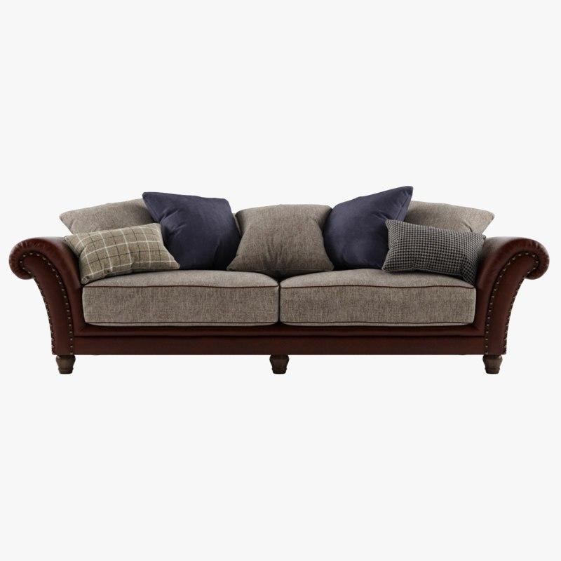 Photorealistic Sofa 3-seat Sofa