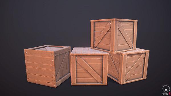 3D wood box stylized