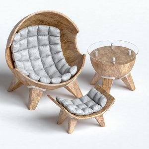 furniture ottoman table 3D