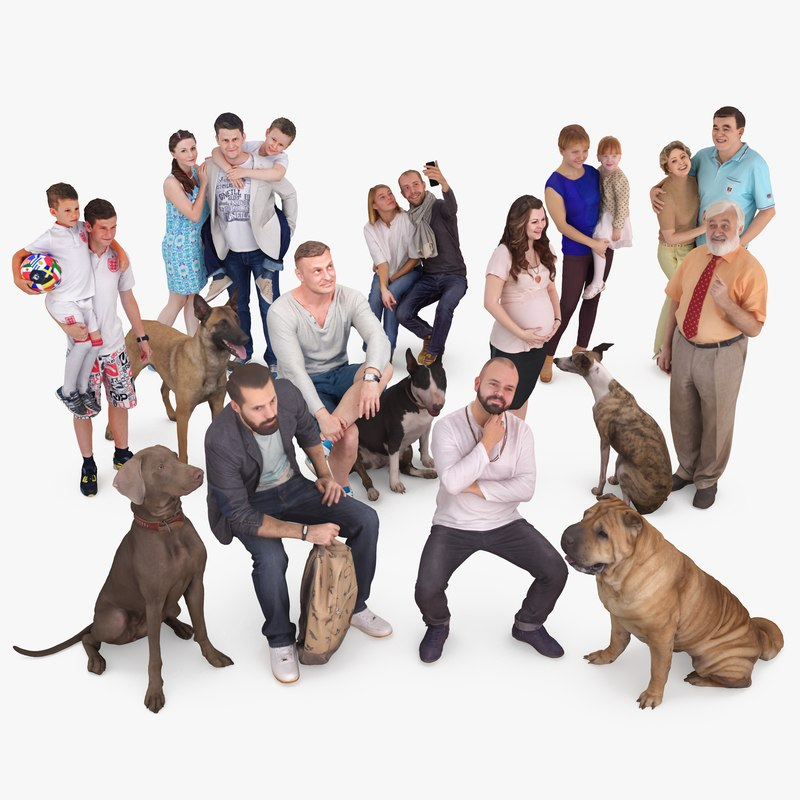animals family dog 3D model