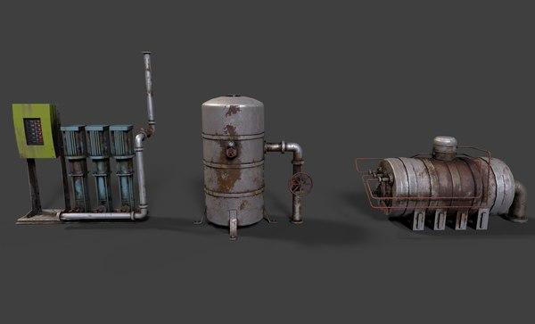 3D boiler room asset pack